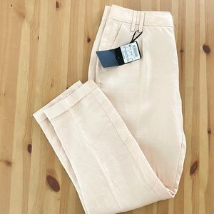 Massimo Dutti Rose Cream Pleated Linen Blend Pants